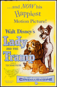 """Lady and the Tramp & Other Lot (Buena Vista, 1955). One Sheet (27"""" X 41"""") & Insert (14"""" X 36""""..."""