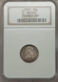 Bust Dimes: , 1820 10C Large 0 AU53 NGC. NGC Census: (2/179). PCGS Population(6/101). Mintage: 942,587. Numismedia Wsl. Price for proble...