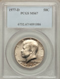 Kennedy Half Dollars: , 1977-D 50C MS67 PCGS. PCGS Population (41/1). NGC Census: (13/0).Mintage: 31,449,106. Numismedia Wsl. Price for problem fr...
