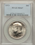 Kennedy Half Dollars: , 1973 50C MS67 PCGS. PCGS Population (32/0). NGC Census: (4/0).Mintage: 64,964,000. Numismedia Wsl. Price for problem free ...