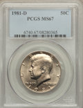 Kennedy Half Dollars: , 1981-D 50C MS67 PCGS. PCGS Population (23/0). NGC Census: (7/0).Mintage: 27,839,532. Numismedia Wsl. Price for problem fre...
