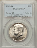 Kennedy Half Dollars: , 1982-D 50C MS67 PCGS. PCGS Population (18/0). NGC Census: (10/0).Mintage: 13,140,102. Numismedia Wsl. Price for problem fr...