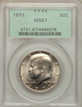 Kennedy Half Dollars: , 1977 50C MS67 PCGS. PCGS Population (34/0). NGC Census: (25/1).Mintage: 43,598,000. Numismedia Wsl. Price for problem free...