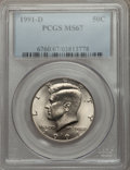Kennedy Half Dollars: , 1991-D 50C MS67 PCGS. PCGS Population (25/2). NGC Census: (55/3).Mintage: 15,054,678. Numismedia Wsl. Price for problem fr...