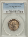 Standing Liberty Quarters: , 1917 25C Type One MS65 Full Head PCGS. PCGS Population (1049/488).NGC Census: (730/383). Mintage: 8,740,000. Numismedia Ws...