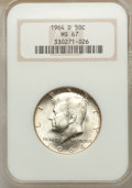 Kennedy Half Dollars: , 1964-D 50C MS67 NGC. NGC Census: (10/0). PCGS Population (31/1).Mintage: 156,205,440. Numismedia Wsl. Price for problem fr...