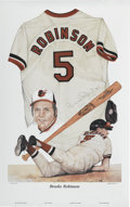Baseball Collectibles:Others, Brooks Robinson Signed Lithograph. Impressive litho from the art ofLewis Watkins features the Human Vacuum Cleaner Brooks...