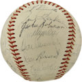 Autographs:Baseballs, 1956 Brooklyn Dodgers Team Signed Baseball. Another National LeagueChampionship for the beloved Bums, sadly followed by ano...