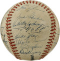 "Autographs:Baseballs, 1951 New York Giants Team Signed Baseball. Whether you remember this team for Bobby Thomson's famous ""Shot,"" or for the deb..."