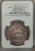 Italy, Italy: Venice. Revolutionary 5 Lire 1848-V UNC Details (SurfaceHairlines) NGC,...