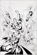 Original Comic Art:Covers, Ivan Reis and Oclair Albert Justice League Trade PaperbackCover Original Art (DC, 2002)....