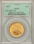 Indian Eagles, 1907 $10 No Motto MS61 PCGS. PCGS Population (552/3808). NGC Census: (1162/3681). Mintage: 239,400. Numismedia Wsl. Price f...