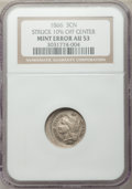 Errors, 1866 3CN Three Cent Nickel -- Struck 10% Off Center -- AU53 NGC.. From The James E. Blake Collection....
