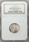 Errors, 1906 5C Liberty Nickel -- 15% Curved Clip -- MS64 NGC.. From The James E. Blake Collection....