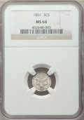 Three Cent Silver: , 1851 3CS MS64 NGC. NGC Census: (420/267). PCGS Population(382/314). Mintage: 5,447,400. Numismedia Wsl. Price for problem...