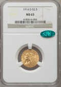 Indian Quarter Eagles: , 1914-D $2 1/2 MS63 NGC. CAC. NGC Census: (1490/1078). PCGS Population: (1319/854). CDN: $600 Whsle. Bid for problem-free NG...