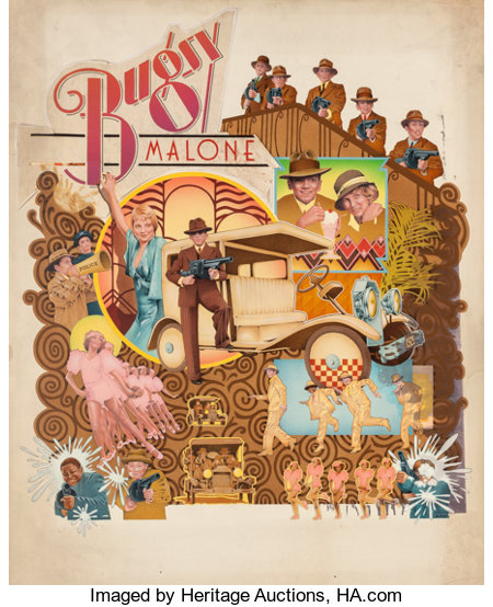 CHARLES MOLL (American, 20th Century) Bugsy Malone, movie poster illustration, 1976 Mixed media on board 38.25 x 28.5...