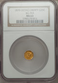 California Fractional Gold: , 1870 25C Liberty Octagonal 25 Cents, BG-763, Low R.4, MS63 NGC. NGCCensus: (7/1). PCGS Population (16/4). ...