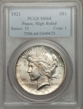 Peace Dollars: , 1921 $1 MS64 PCGS. PCGS Population (3884/1428). NGC Census:(3455/1277). Mintage: 1,006,473. Numismedia Wsl. Price for prob...