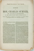 Books:Americana & American History, [Charles Sumner]. Speech of Hon. Charles Sumner. [N.p.,1870]. Self-wrappers. 7 pages. Untrimmed. Wear and toning to...