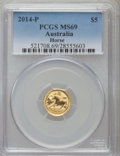 Australia, 2014-P $5 1/20th Ounce Gold Year of the Horse MS69 PCGS. PCGS Population (417/221). ...