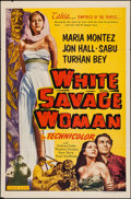 """Movie Posters:Adventure, White Savage (Realart, R-1953). One Sheet (27"""" X 41""""). Adventure.Re-release Title: White Savage Woman.. ..."""