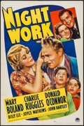 "Movie Posters:Comedy, Night Work (Paramount, 1939). One Sheet (27"" X 41""). Comedy.. ..."