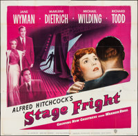 "Stage Fright (Warner Brothers, 1950). Six Sheet (79"" X 81""). Hitchcock"