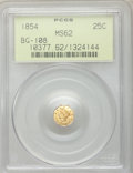California Fractional Gold: , 1854 25C Liberty Octagonal 25 Cents, BG-108, Low R.4, MS62 PCGS.PCGS Population (43/56). NGC Census: (6/13). ...