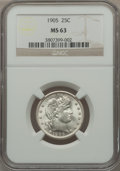 Barber Quarters: , 1905 25C MS63 NGC. NGC Census: (26/58). PCGS Population (34/71).Mintage: 4,968,250. Numismedia Wsl. Price for problem free...
