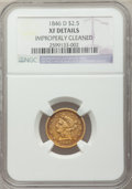 Liberty Quarter Eagles: , 1846-D $2 1/2 -- Improperly Cleaned -- NGC Details. XF. NGC Census: (8/142). PCGS Population (16/109). Mintage: 19,303. Num...