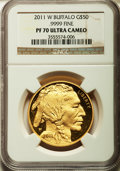 Modern Bullion Coins, 2011-W $50 One-Ounce Gold Buffalo PR70 Ultra Cameo NGC. .9999 Fine.NGC Census: (1678). PCGS Population (482). Numismedia ...