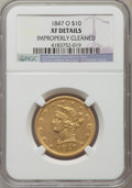 Liberty Eagles, 1847-O $10 -- Improperly Cleaned -- NGC Details. XF. NGC Census:(71/628). PCGS Population (125/289). Mintage: 571,500. Num...