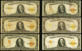 Large Size:Gold Certificates, $10 1907 and 1922 Gold Certificates Good or Better.. ... (Total: 19notes)