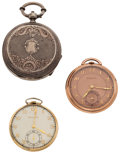 Timepieces:Pocket (post 1900), Two Bulova's & One Swiss Key Wind Pocket Watches Runners. ...(Total: 3 Items)