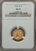 Indian Quarter Eagles: , 1928 $2 1/2 MS62 NGC. NGC Census: (5729/7516). PCGS Population(3173/4649). Mintage: 416,000. Numismedia Wsl. Price for pro...
