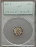 Three Cent Silver: , 1851 3CS MS64 PCGS. PCGS Population (382/314). NGC Census:(420/267). Mintage: 5,447,400. Numismedia Wsl. Price for problem...