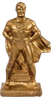 Superman Gold-Painted Plaster Statue (c. 1940s)