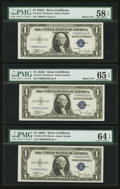 Small Size:Silver Certificates, Binary Quad 0000XXXX Serial Number Set PMG Graded.. ... (Total: 9 notes)
