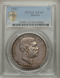Coins of Hawaii: , 1883 $1 Hawaii Dollar XF45 PCGS Secure. PCGS Population (166/264).NGC Census: (65/209). Mintage: 500,000. ...