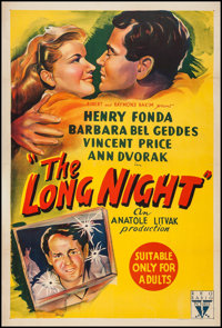 "The Long Night (RKO, 1947). Australian One Sheet (27"" X 40""). Film Noir"