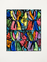 JIM DINE (American, b. 1935) Dexter's Four Robes, 1992 Woodcut with hand coloring on Rives BFK White