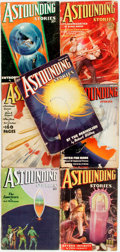 Books:Pulps, [Pulps]. Seven Issues of Astounding Stories. 1936-1937.Original printed wrappers. Edges rubbed, with some biopredat...(Total: 7 Items)