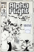 Original Comic Art:Covers, Kevin Nowlan Alpha Flight #48 Cover Original Art (Marvel,1987)....