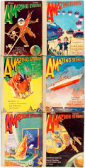 Books:Pulps, [Pulps]. Six Issues of Amazing Stories. 1930. Originalprinted wrappers, rebacked. Very good. . ... (Total: 6 Items)