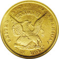 Territorial Gold: , 1852 $10 Humbert Ten Dollar AU55 NGC. K-10, R.5. The eagle's bodyand wingtips offer the expected light wear, but luster pe...