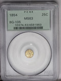 California Fractional Gold: , 1854 25C Liberty Octagonal 25 Cents, BG-105, R.3, MS63 PCGS. The Oin DOLLAR is recut, and the R is entered low. The rich o...