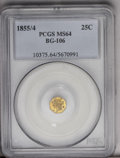 California Fractional Gold: , 1855/4 25C Liberty Octagonal 25 Cents, BG-106, R.3, MS64 PCGS. Fourlarge stars surround the large Liberty head, while the ...