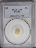 California Fractional Gold: , Undated 25C Liberty Round 25 Cents, BG-206, High R.4, AU58 PCGS. Astar is balanced above the numerator. Mostly golden-tan ...