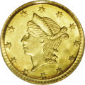 California Fractional Gold: , Undated 25C Liberty Round 25 Cents, BG-222, R.2, MS65 PCGS. This isa gorgeous prooflike Gem with brilliant yellow color an...